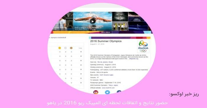 حضور نتایج و اتفاقات لحظه ای المپیک ریو ۲۰۱۶ در یاهو!