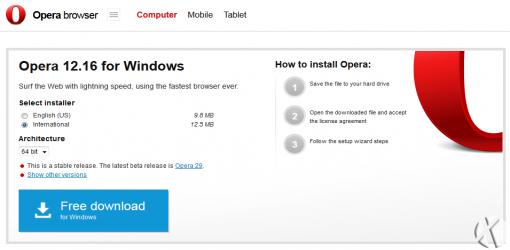و سرانجام Opera 12